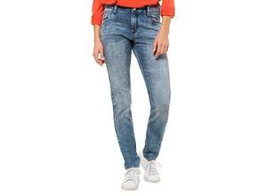 Gina Laura Damen Jeans Julia, hellgewaschen, schmale Form, blau, Baumwolle/Polyester/Elasthan
