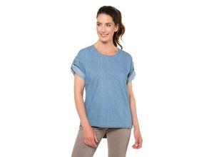 Gina Laura Damen Jeans-Tunika, aum-Druckknöpfe hinten, Oversized, blau, Baumwolle