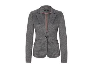 S.oliver Black Label Interlock-Blazer mit Strukturmuster grey/black check, Gr. 34 - Damen Blazer