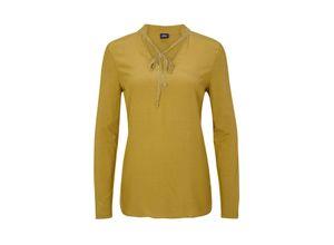S.oliver Black Label T-Shirt Langarm mustard, Gr. 40 - Blusenshirt mit Schmuck-Detail