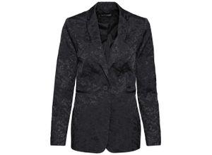 Satin-Blazer mit Jacquard-Muster langarm in schwarz für Damen von bonprix