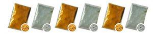 poudre holi colorée d'or argent