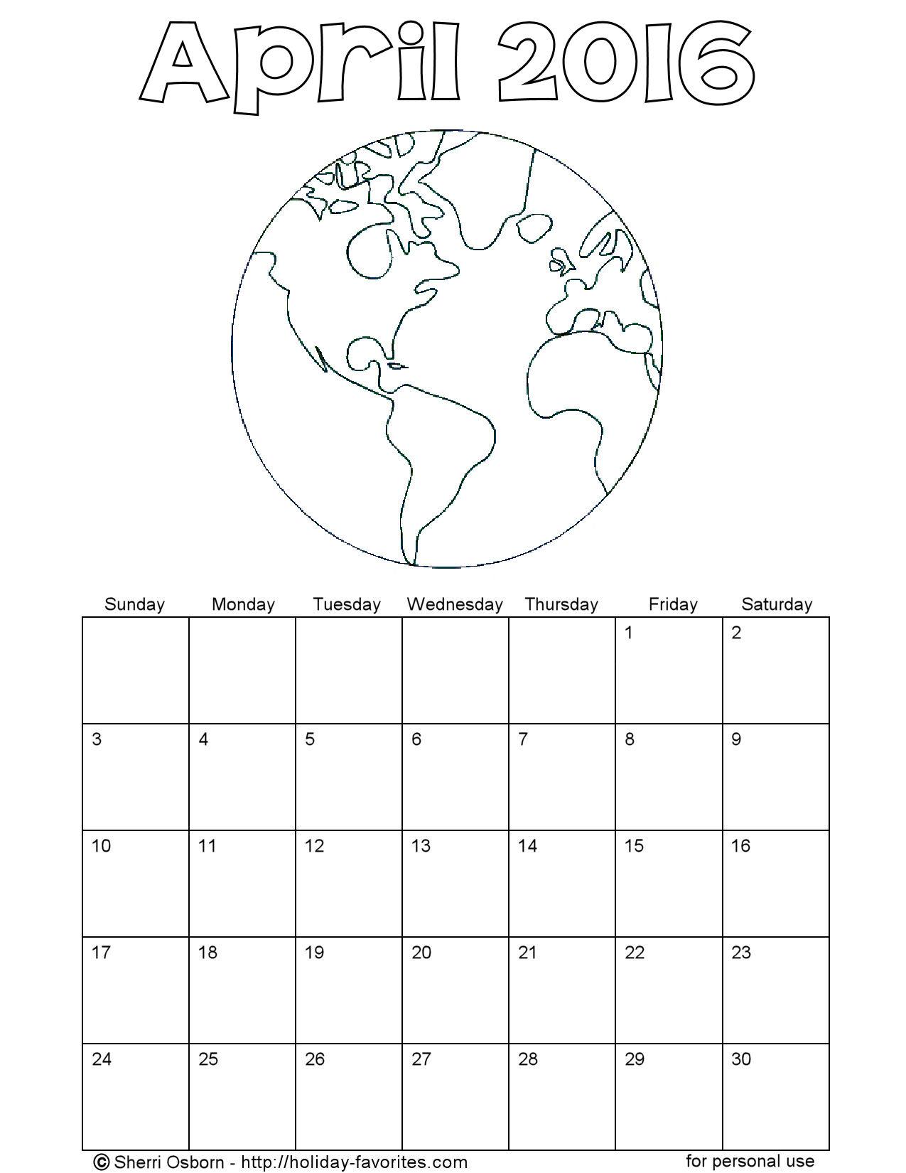 Printable April Calendars