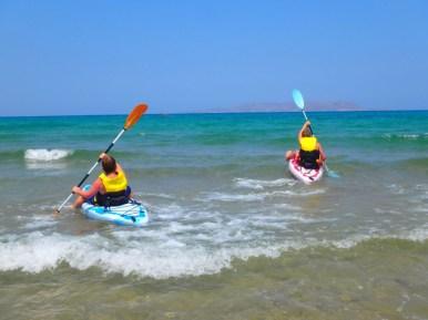 Canoeing in sea on Crete