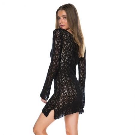 Strandjurk Brooklyn Crochet Zwart - achterkant