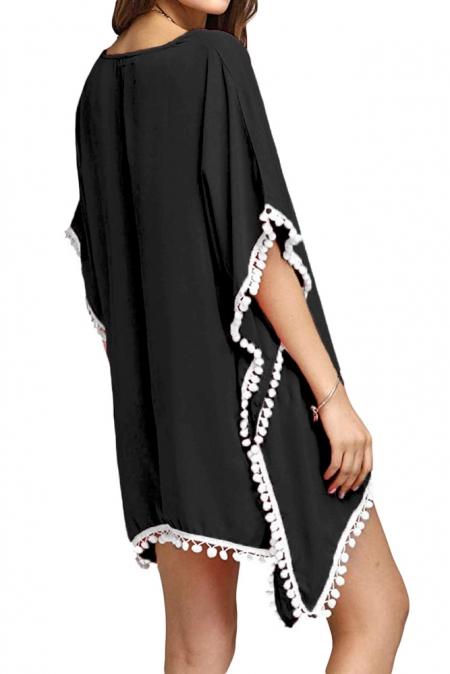 Strandjurk Crochet Chiffon Tassel Zwart Wit - back