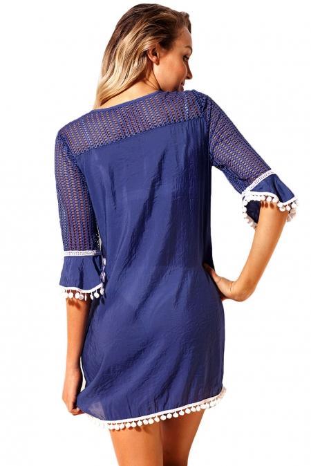 Strandjurk Cover Up Milano Crochet Blauw achterkant