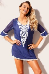 Strandjurk Cover Up Milano Crochet Blauw main