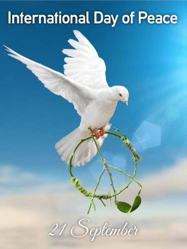 Flying White Dove International Day Of Peace Card
