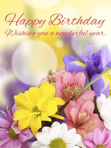 Lovely Amp Gorgeous Flower Happy Birthday Card Birthday