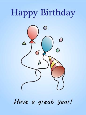 Birthday Party Hat Amp Balloons Card Birthday Amp Greeting