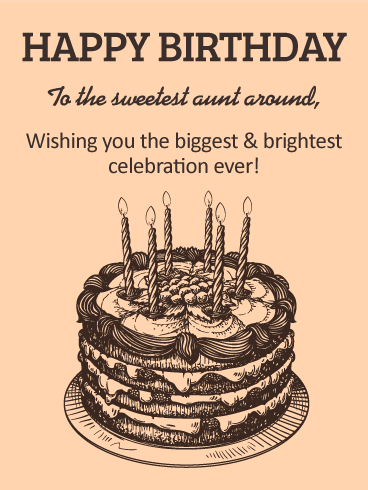 Classic Birthday Cake Card For Aunt Birthday Amp Greeting