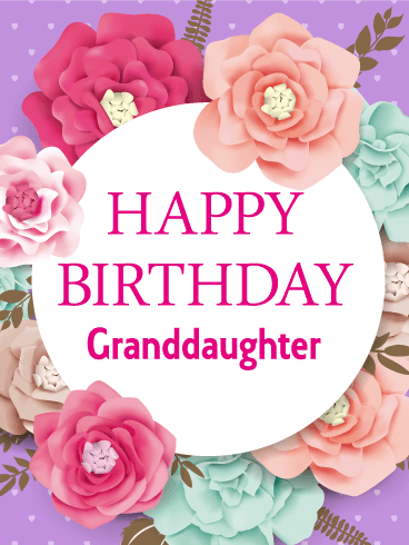 Gorgeous Flower Happy Birthday Card For Granddaughter Birthday Amp Greeting Cards By Davia