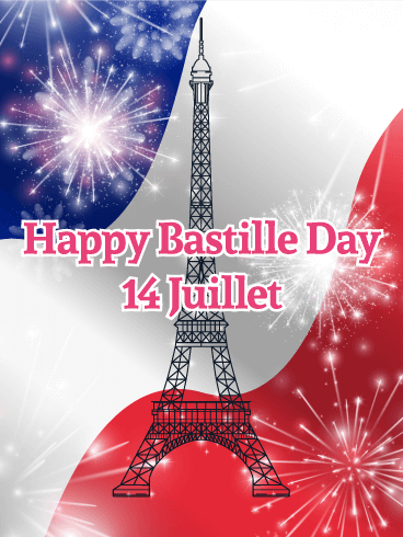 Eiffel Tower Happy Bastille Day Card Birthday Amp Greeting