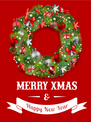 Red Christmas Wreath Card Birthday Amp Greeting Cards By Davia