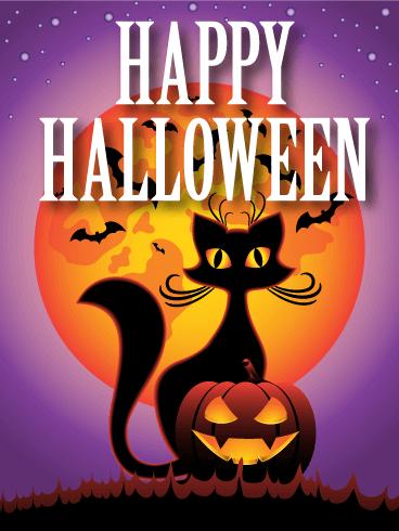 Spooky Night Happy Halloween Card Birthday Amp Greeting
