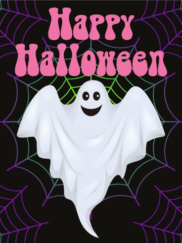 Charming Ghost Happy Halloween Card Birthday Amp Greeting