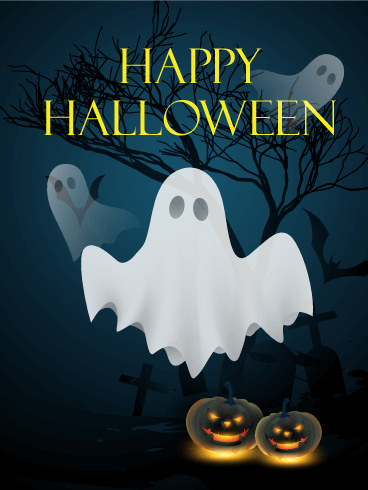 Do You See The Ghosts Happy Halloween Card Birthday
