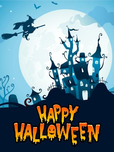 Blue Night Happy Halloween Card Birthday Amp Greeting