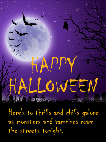 Thrills And Chills Happy Halloween Card Birthday