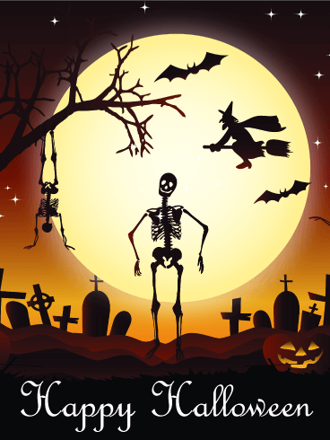 Dancing Skull Happy Halloween Card Birthday Amp Greeting Cards By Davia