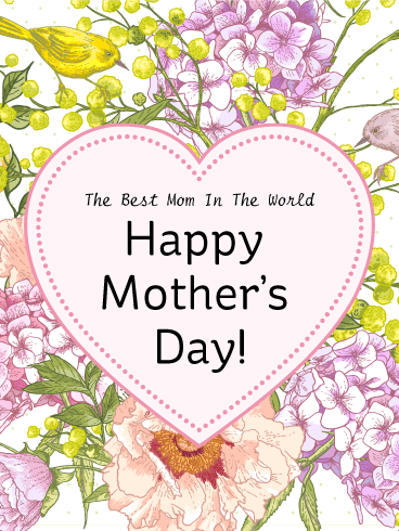 Heart & Flower Happy Mother's Day Card | Birthday ...