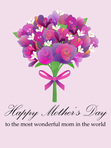 Flower Bouquet Happy Mothers Day Card Birthday