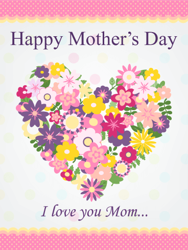Flower Heart Happy Mother's Day Card | Birthday & Greeting ...