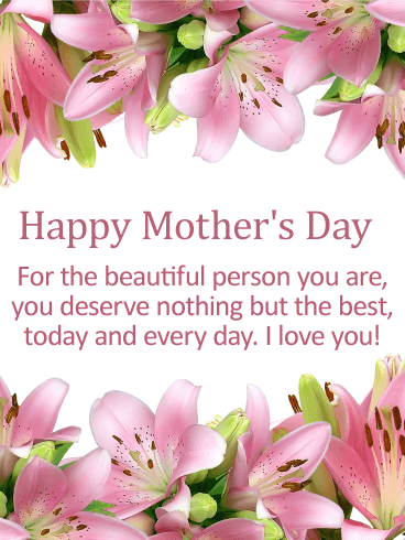 To my Beautiful Mom - Happy Mother's Day Card | Birthday ...