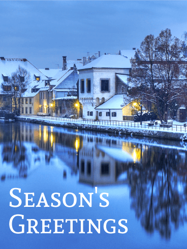 Beautiful Winter Town Seasons Greeting Card Birthday
