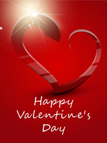 Flashing Heart Happy Valentines Day Card Birthday
