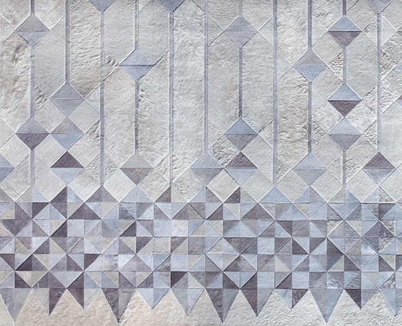 Detail of custom carpet by Kyle Bunting inspired by Baccarat.