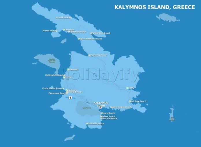 Map of Kalymnos, Greece