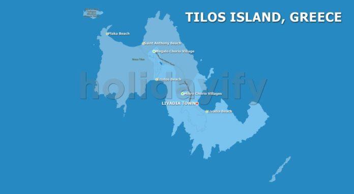 Tilos Haritası, Plajlar ve Köyler