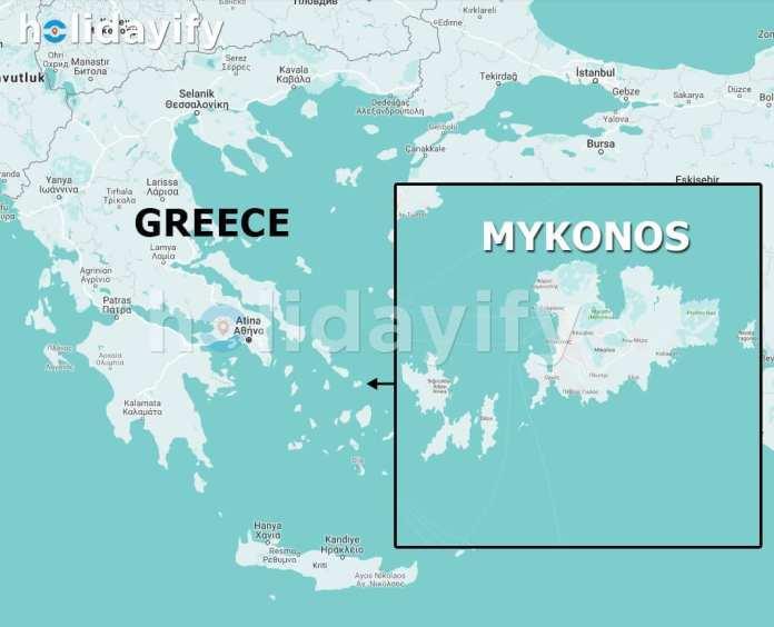 Mykonos haritası, Mykonos nerede?