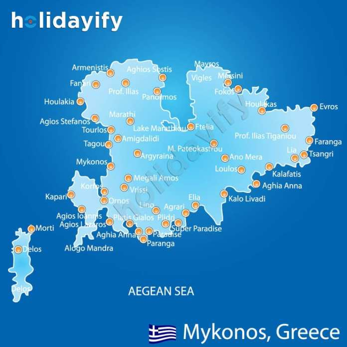 Mykonos Map - Beaches and Villages