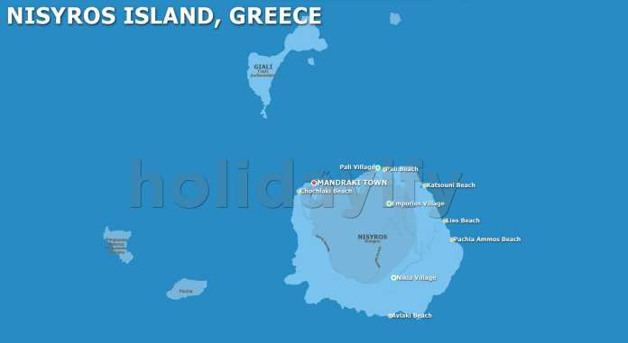 Nisyros Map, Dodecanese, Greece