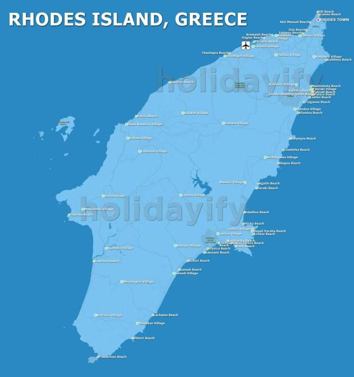 Map of Rhodes, Greece