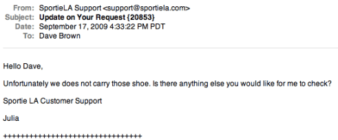 My favorite customer service reply of 2009 - Holiday Matinee