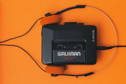 Cassette mixtape in retro Walkman