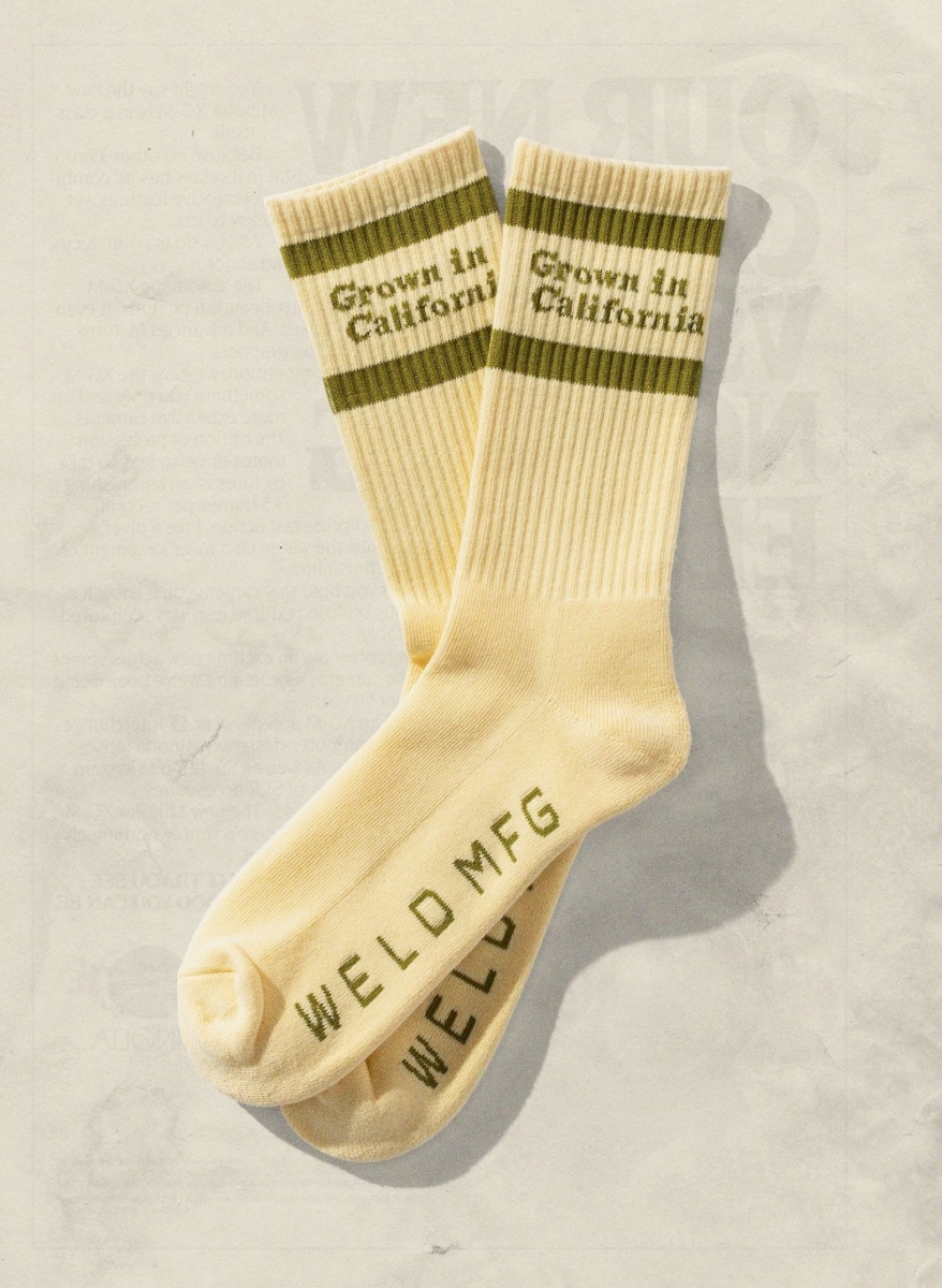 Grown in California creme socks with green design