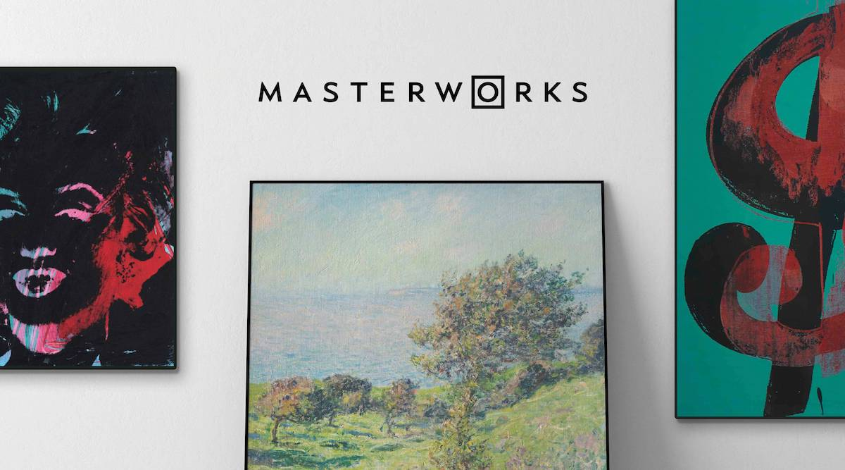 Masterworks logo and blue chip art pieces