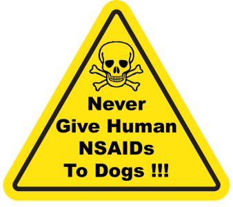 never give human NSAIDs to Dogs