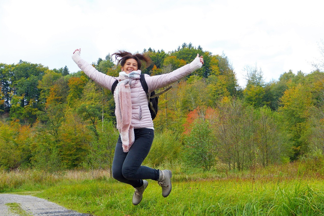 woman jumping up