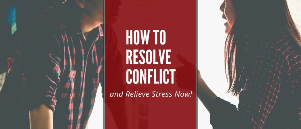 How to Resolve Conflict and relieve stress now! A Couple in office arguing.