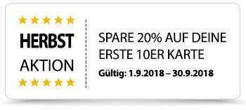 Herbst-Aktion 20% Rabatt auf erste 10er Karte