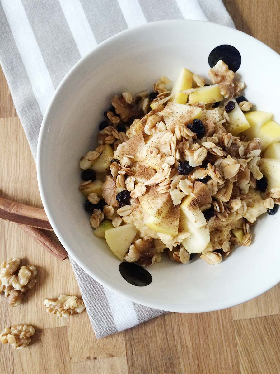 Protein Porride mit Apfel-Zimt Topping
