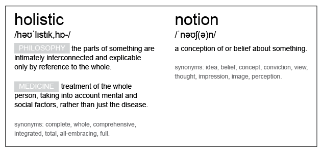 Definition of Holistic and Notion;