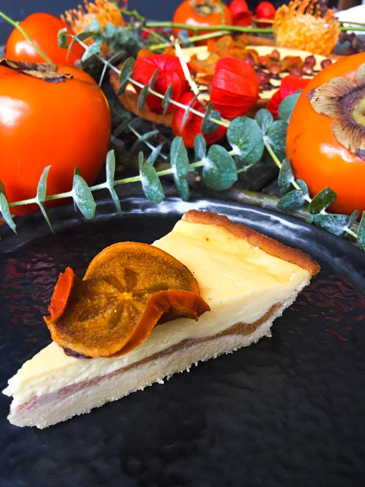Persimon-Cheesecake auf Kokos-Mürbeteig (Low Carb) aufgeschnitten