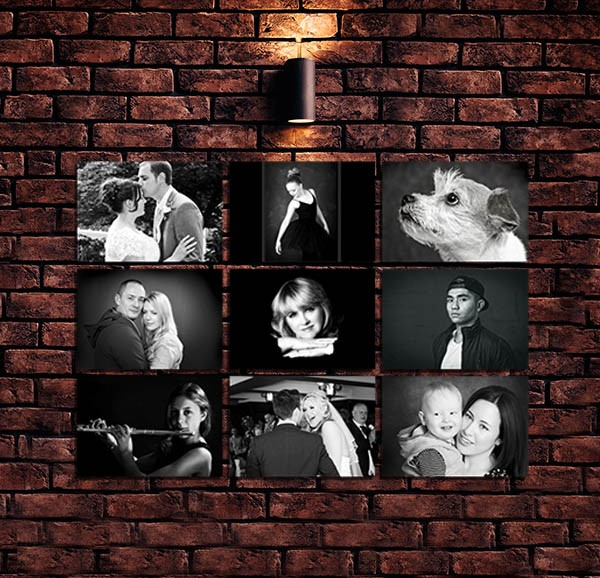 A photo picture wall - Black and white portrait photographs © Paul Holland